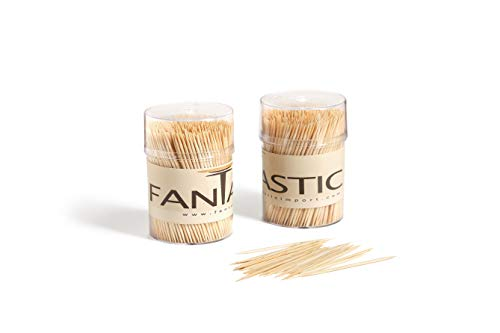 FANTASTIC :) Large Round Bamboo Wooden Toothpicks- 2 Clear Packs of 500 Tooth Picks for Teeth Cleaning, Party Appetizer, Olive, Barbecue, Fruits, Craft Projects, Parties