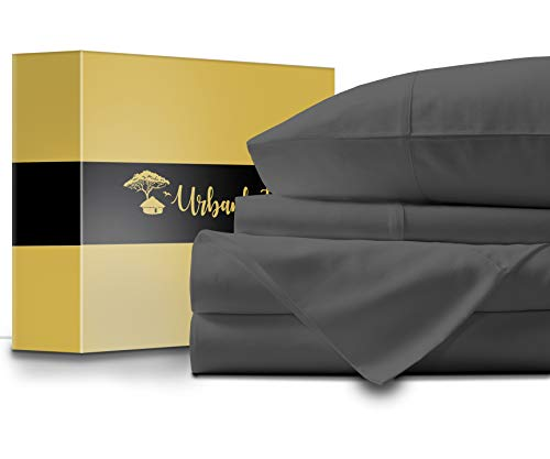 URBANHUT Egyptian Cotton Sheets Set - 1000 Thread Count 100% Cotton King Size Sheets (4 Piece), Luxury Bed Sheets King, Deep Pocket, Soft & Silky Sateen Weave (Elephant - Hut Hi Lo