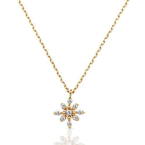 Solid 14k Yellow Gold Snowflake CZ Pendant Necklace for Women and Girls ()