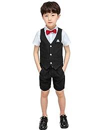 Aidode Boy Summer Suit Vest Set 3 Pieces Shirt Vest and Shorts with Bowtie