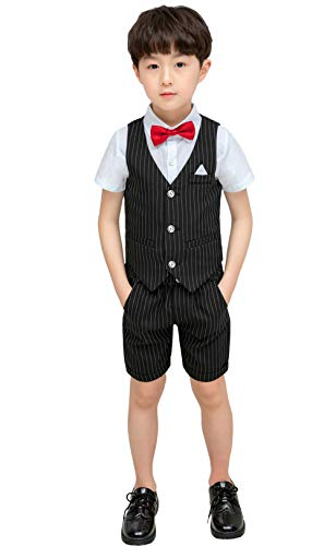 (Aidode 4 Piece Boy Teen Black Pinstripe Suit Formal Short Sleeve Shirt Shorts Leisure Wedding Size 3T Black Stripe 90cm (tag 7))