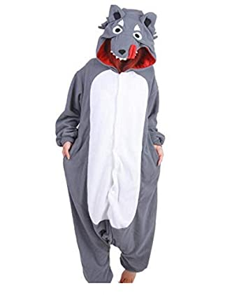 Pijama Big Grey Lobo Animal Jumpsuit Series Hombre según la Mujer ...