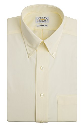 (Eagle Men's Non Iron Regular Fit Solid Button Down Collar Dress Shirt, Cornsilk, 16.5