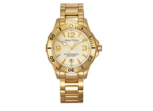 Nautica Gold Dial Stainless Steel Unisex Watch A16596M