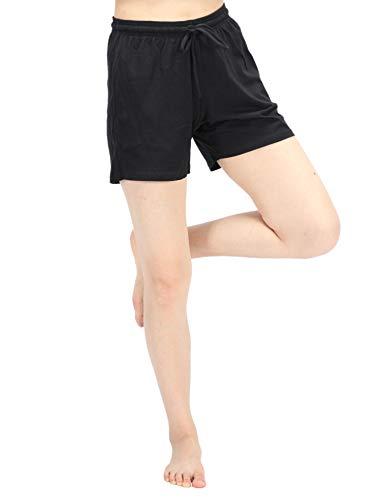WEWINK CUKOO Women Pajamas Shorts Cotton Sleep Shorts Stretchy Lounge Shorts with Pockets (M=US 8-10, Black)