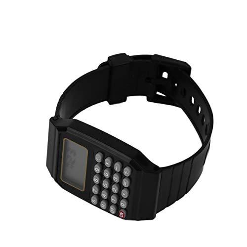 Kongqiabona Práctica Niños Estudiantes Calculadora Reloj Digital Color Sólido Silicona Cómoda Calculadora de Uso Reloj de...