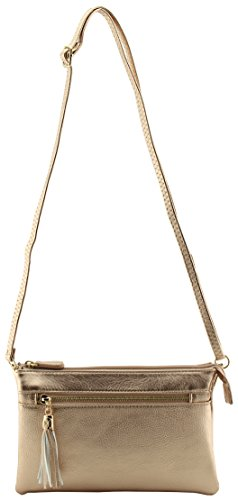Bag Gold Hardware - Soft faux leather multi pockets small crossbody purse with tassels (Rose Gold)