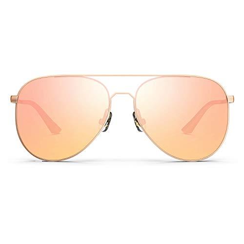 RIVBOS Classic Aviator Sunglasses Polarized Mirrored Lens Sunglasses for Men Women RB-A2 (Rose Gold Frame & Gold Mirrored Len
