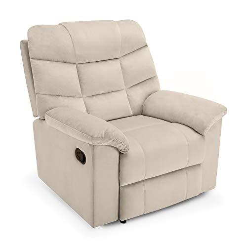 Belleze High Back Extra Overstuffed Contemporary Full Recliner Microfiber Lounge Padded Armrest Backrest Chair, Beige ()