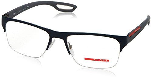 Prada PS55FV Eyeglass Frames TFY1O1-54 - Top Blue Rubber On - Eyeglasses Rossa Linea Prada
