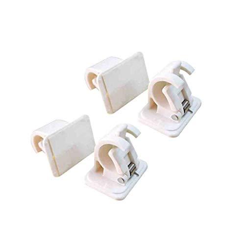 (HJuyYuah Self Adhesive Hooks Curtain Rod Bracket Pole Drapery Hook Holders Curtains 4PCS (White))
