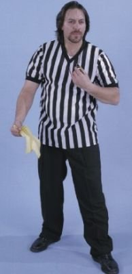 [Alexanders Costumes Men's Referee Shirt, Black, X-Large] (Mens Referee Costumes)
