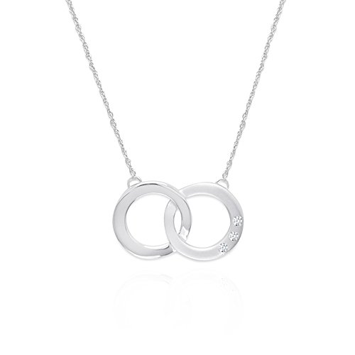 Double Circle Eternity Circle of Life Necklace Rhodium Plated Sterling Silver with Diamond Accent