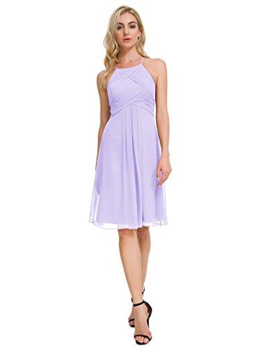 Alicepub Chiffon Bridesmaid Dresses Halter Cocktail Dress Short Homecoming Party Dresses, Lilac, -