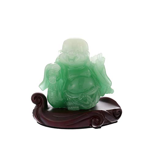 Prime Feng Shui Resin Laughing Buddha Statue Hold Copper Coin Bring Wealth and Prosperity Car Ornaments Home Office Decoration(Green) ()