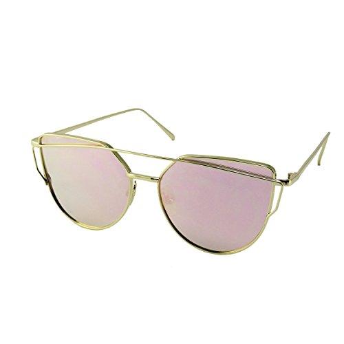 Women's Retro Vintage Rose Gold Fierce Cat Eye Designer Sunglasses by - Paul Jr Sunglasses