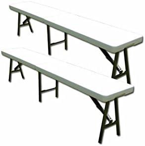 Toolland – 2 bancos plegables para mesa plegable – 6 personas ...