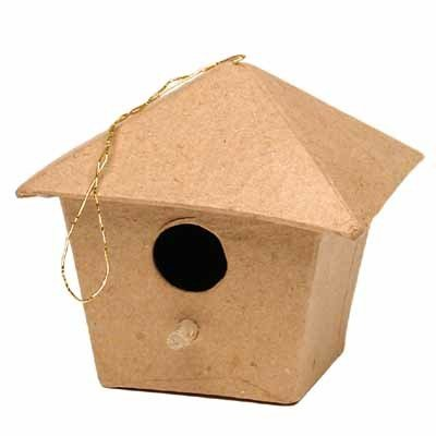 Group of 12 Unfinished Paper Mache Birdhouse Ornaments for Kids Crafting, Creating and Holiday (Dcc Paper Mache)