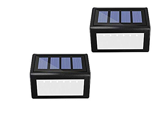 Solar 6 LED Stair Lights - Sunklly Outdoor Waterproof Step Lamp for Deck,Walkway,Patio (White Light, Pack of 2)