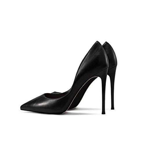 Moda Superficiales De Nuevos Trabajo Primavera Tacón color Puntiagudos Tamaño Cuero Black Estiletes Zapatos Y Femenina 34 Verano Yubin Rqw7P5FK