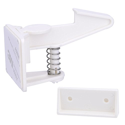 Cabinet Locks Child Safety Latches - VMAISI 12 Pack Baby Proofing Cabinets Drawer Lock with Adhesive Easy Installation - No Drilling or Extra Screws Fixed (12 Pack)