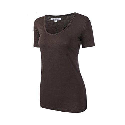 Vetemin Women's Premium Basic Fitted Soft Short Sleeve Deep V Neck T shirt Tee Charcoal XXL