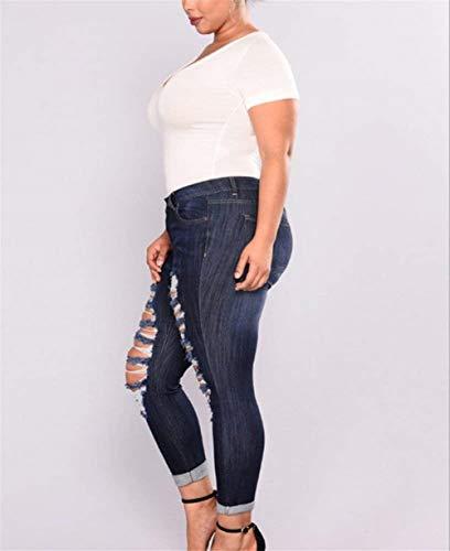 Delanteros De Botones Womens Mujeres Casuales Agujeros Blau Plus Bolsillos Pantalones Leggings Cintura Battercake Navy Denim Rasgados Jeans Alta 06tdtwq