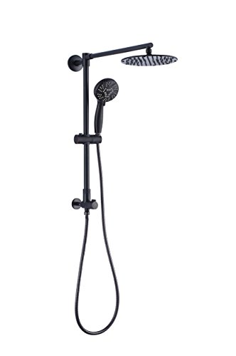 Polaris Retrofit Rain Shower System with 3-Setting Handheld Shower and Slide Bar & Shower Head 8 inch combo for Low-ceiling Bathrooms (Oil Rubbed Bronze)