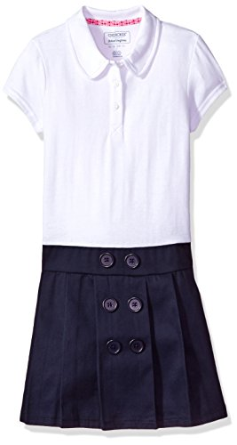 Cherokee Little Girls' Uniform Polo Dress, Navy Button, 5 (Uniform School Dress)