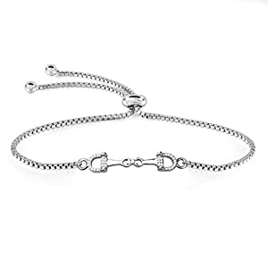 FEELMEM Horse Snaffle Bit Plated Cubic Zirconia Crystal Easy Hook Clasp Charm Bangle Bracelet Equestrian Jewelry Good…