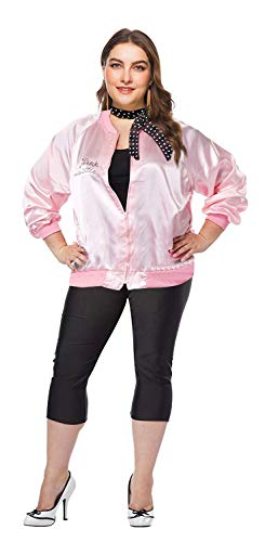 1950s Plus Size Grease Rhinestone Pink Ladies Jacket with Polka Dot Scarf (XXL, Pink Rhinestone) -