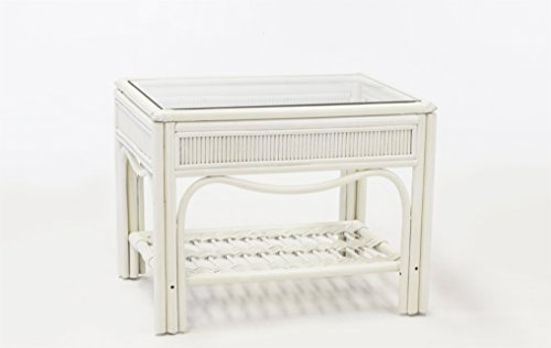 South Sea Rattan Whitewash Bermuda End Table (Rattan Bermuda)