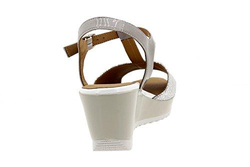 Calzado mujer confort de piel Piesanto 8980 sandalia cuña cómodo ancho Gris