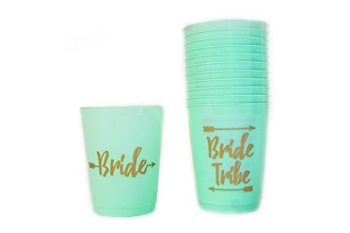M.E Bridal Mint and Gold Bachelorette Party Cups, Bride Tribe and 2special Bride Cups for Bridal Shower - 14 Count, 16 Ounces Cups for Bachelorette Party