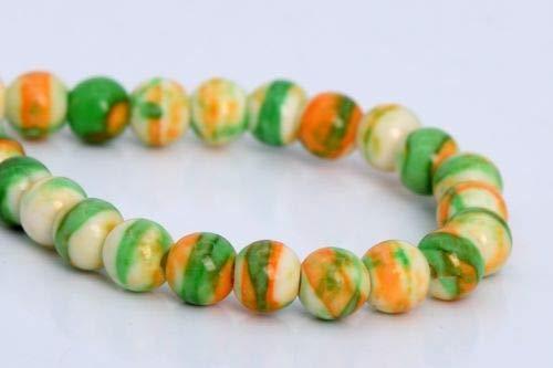 4mm Green Orange Rain Flower Jade Beads Grade Round Loose Beads 7.5'' Crafting Key Chain Bracelet Necklace Jewelry Accessories Pendants ()