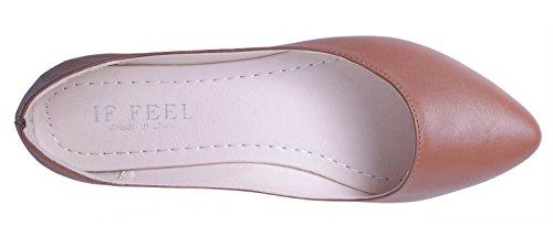 WENN FÜHLEN Women's Pointy Toe Weiche Festkörper Ballett Flache Schuhe Braun