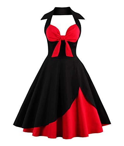 ANCHOVY Women Vintage 50s Halter Dresses Floral Audrey Hepburn Bowknot Tea Dress C82 (Black&red 02, L) (Hepburn Dot Polka Audrey Dress)