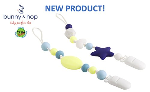 NEW! Includes 2 CPSIA certified Baby Pacifier Clip / Universal leash holds most pacifiers, compatible with MAM, Soothie, NUK / BPA-free / Food-grade silicone / Unique baby shower gift ( Unisex ) Bunny Hop Baby Blanket