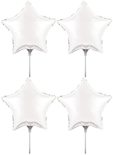 Set of 4 Foil Air Filled Balloons! Helium Free - Sticks and Joiner - Stars - Unique Themes - Party Balloons and Birthday Balloons Perfect for any Party Decoration! (4ct White 9