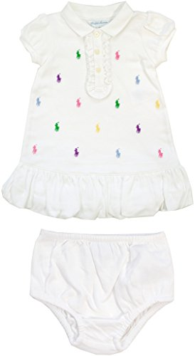 - Ralph Lauren Baby Girl's All Over Pony Dress, White, 3 Months