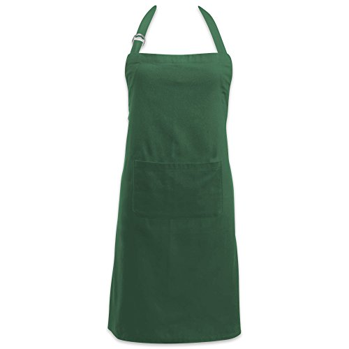 DII Cotton Adjustable Kitchen Chef Apron with Pocket and Extra Long Ties, 32 x 28, Commercial Men & Women Bib Apron for Cooking, Baking, Crafting, Gardening, BBQ-Dark Green