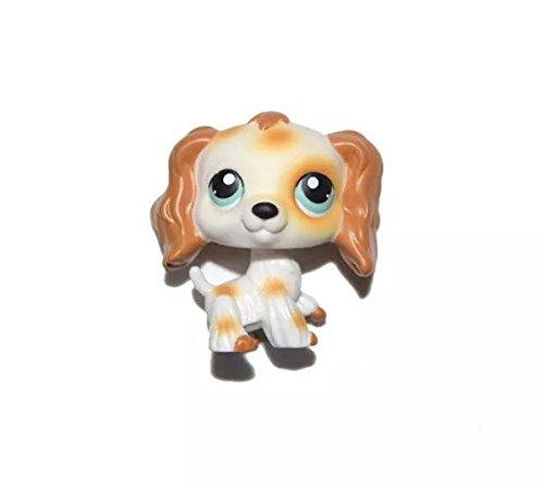 DEEJOE Pet Shop Puppy White Brown Long Hair Ear Cocker Spaniel Dog LPS Action Figure Toy 2