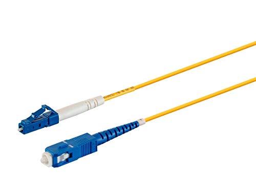 Monoprice Fiber Optic Cable - 5M (Meter) - LC/UPC-SC/UPC, G657A1, Single Mode, Simplex, 2mm, PVC