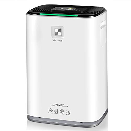Yaufey Upgraded 2-in-1 70 Pint Dehumidifier with True HEPA Filter Air Purifier, Intelligent Touch Control, Auto Timing, Drain Hose and Wheel for Home Basements Bathroom Bedroom Spaces up to 4500 Sq Ft