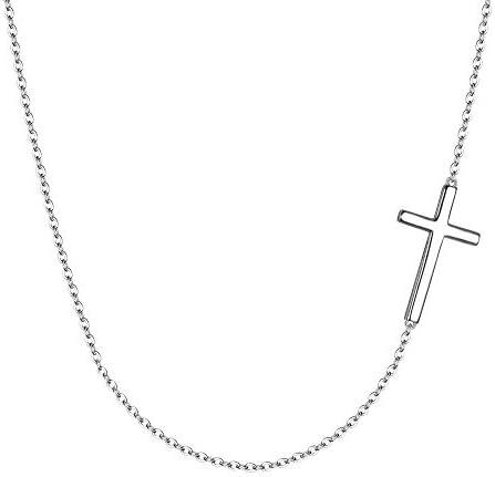 EVER FAITH 925 Sterling Silver Simple Sideways Cross Pendant Choker Necklace for Women, Girls