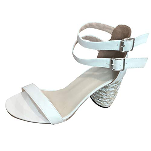 Chunky Heels for Women Ankle Strap Buckle Open Toe High Pump Party Dress Sandals (US:6, White)