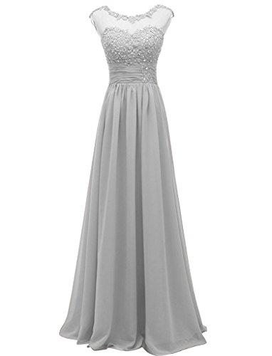 Damen Appliques Carnivalprom Elegant Cocktailkleider Brautjungfernkleider Silber Chiffon Lange Abendkleider 6xpdaxw