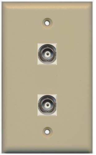 RiteAV - 2 Port BNC Wall Plate - Ivory - Bracket Included