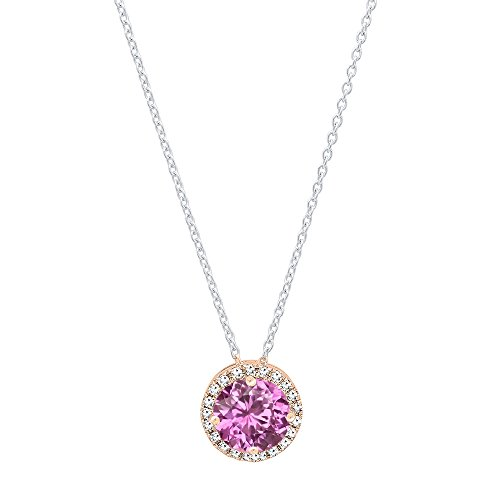 Dazzlingrock Collection 14K 7 MM Round Lab Created Pink Sapphire & White Diamond Ladies Halo Pendant, Rose Gold