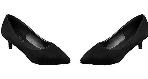 AllhqFashion Damen Mittler Absatz Rein Ziehen auf Mattglasbirne Spitz Zehe Pumps Schuhe Schwarz